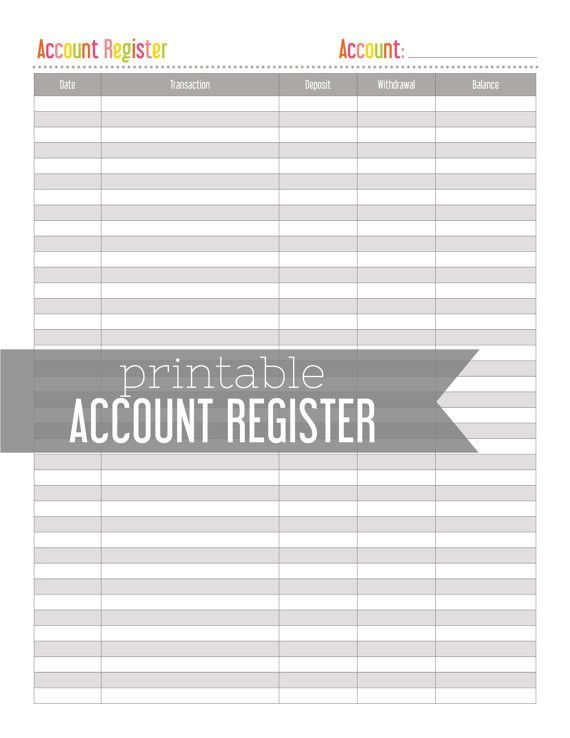 Account Register Bank Account Tracker by LemonLimePrintables ...