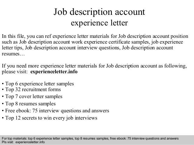 Experience letter for job job experience letter format 1 job description account experience letter 1 638g yelopaper Gallery