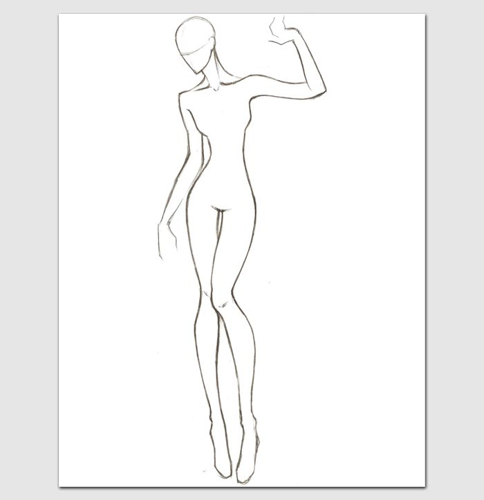 Female Body Template for Fashion Design | Outline Templates ...