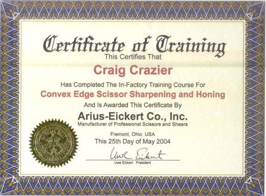 Training Certificate - Precision Sharpening Inc.