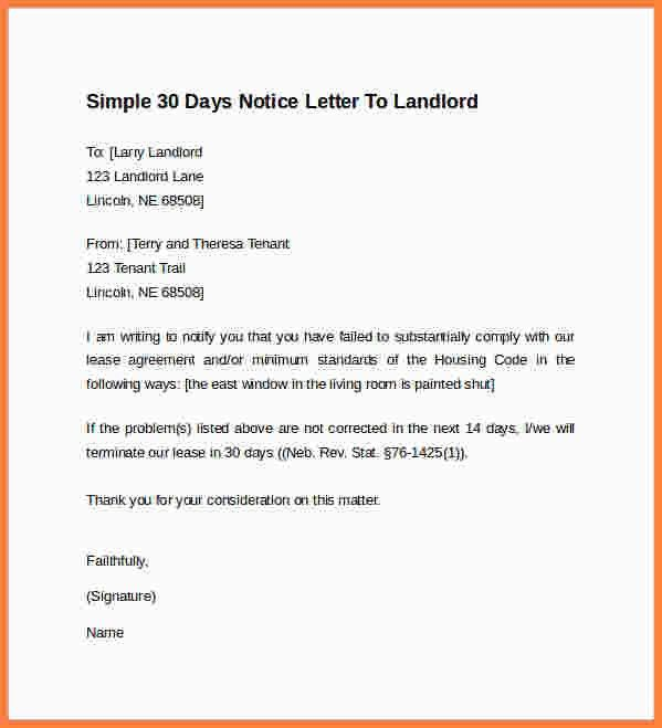6+ 30 day notice letter to landlord template | Second Notice Letter