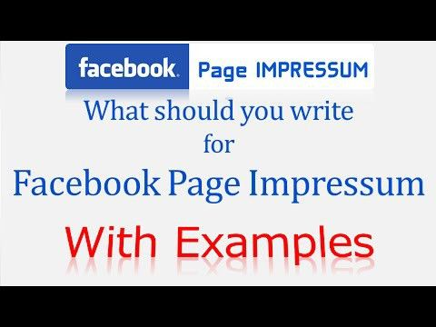 Impressum Facebook Page Example Ultimate Guide