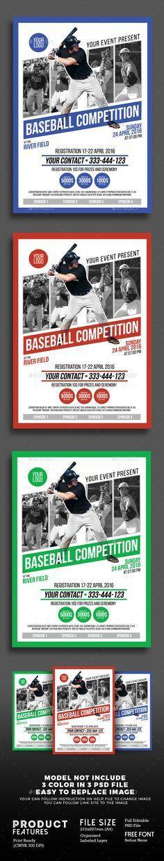 Baseball League Flyer Template   Baseball league, Flyer template ...