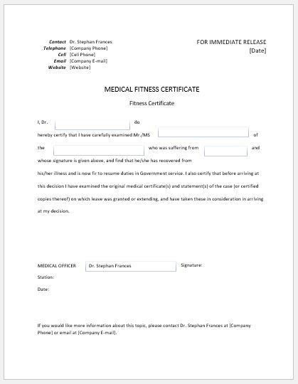 Medical Certificate Templates for MS Word | Document Templates
