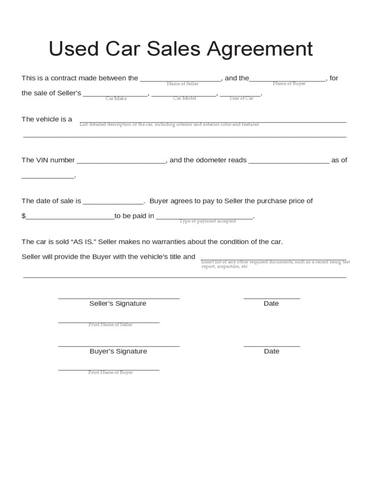 28+ Private Car Sale Agreement Template | Pin Sales Contract ...