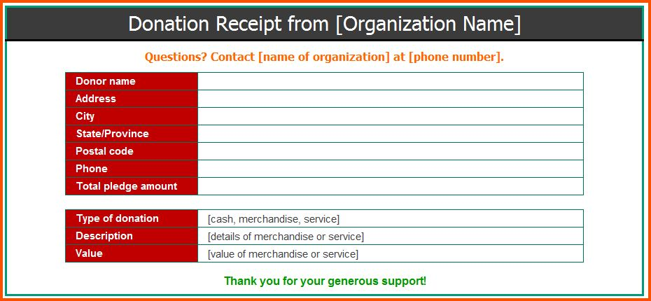 12+ donation receipt template | Survey Template Words