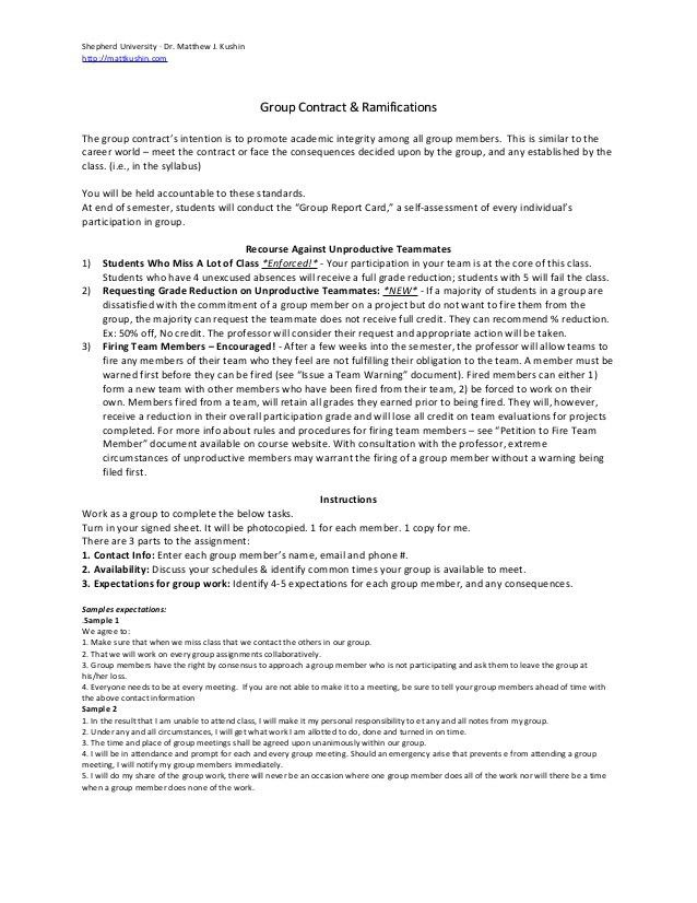 Team Contract for Classroom Group Projects
