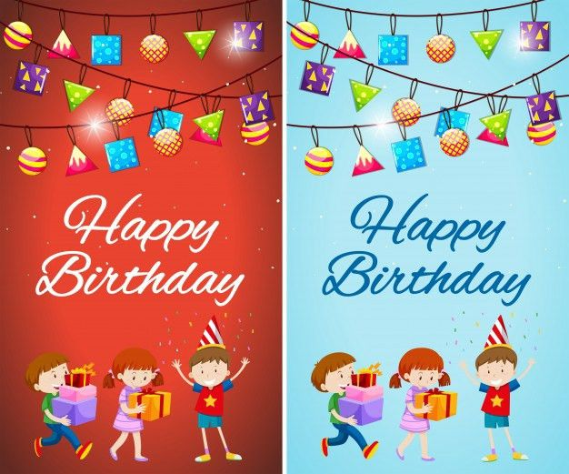 Two designs of birthday card template with kids and presents ...