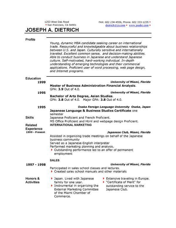 Sample Resume Format Word. Resume Template For Word 2010 Resume ...