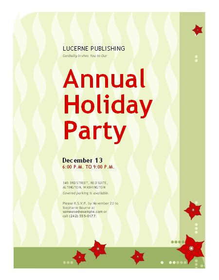 Holiday Party Invitation Template – Gangcraft throughout Microsoft ...