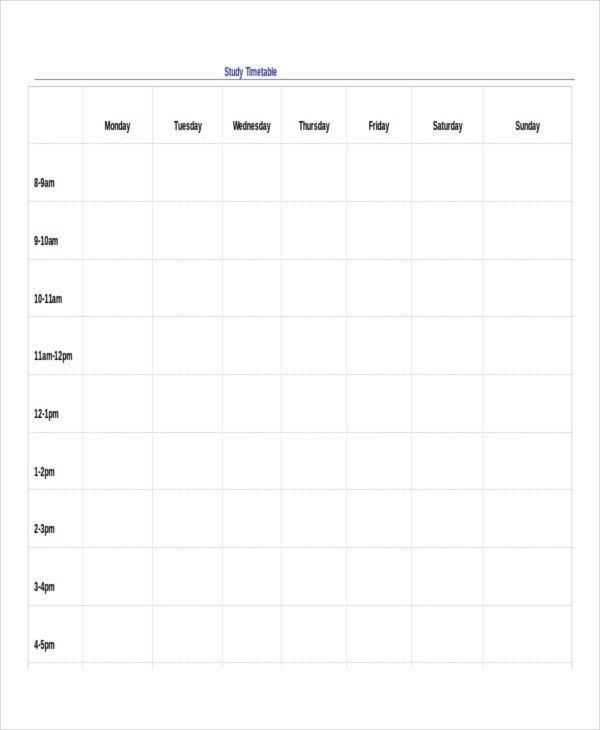 13+ Timetable Templates - Free Sample, Example, Format | Free ...