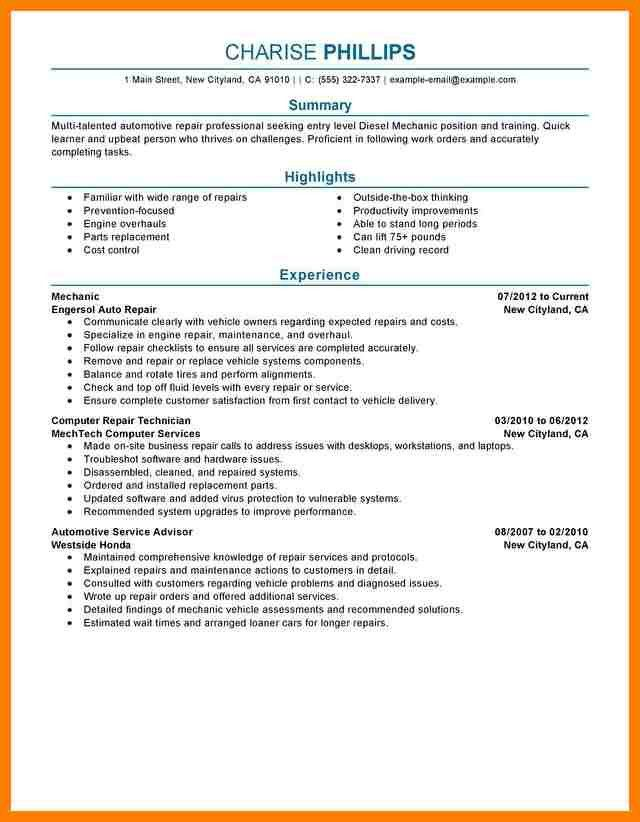 7+ automotive technician resume | billing clerk resume