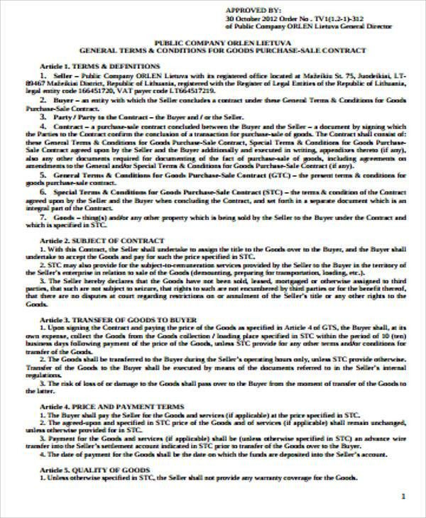 Sample Purchase Agreement Contract - 8+ Examples in Word, PDF