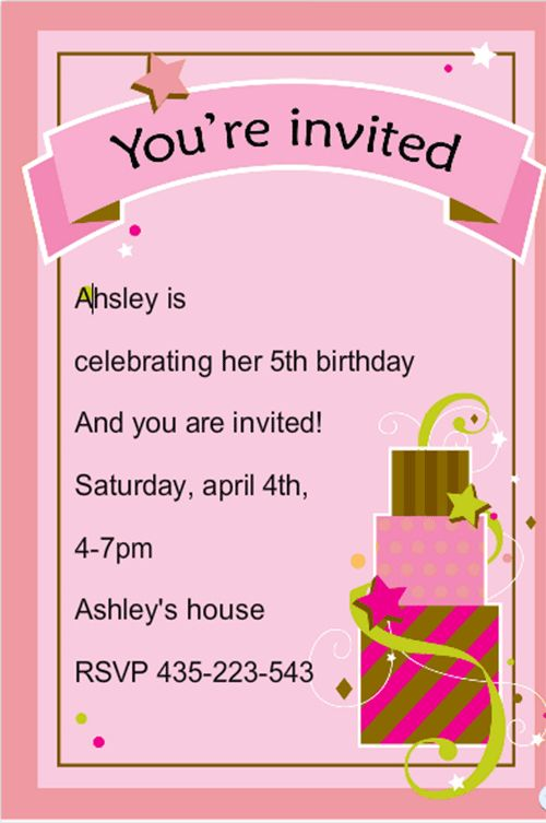 Amazing Sample Of Birthday Invitation Card 59 For Avery Invitation ...