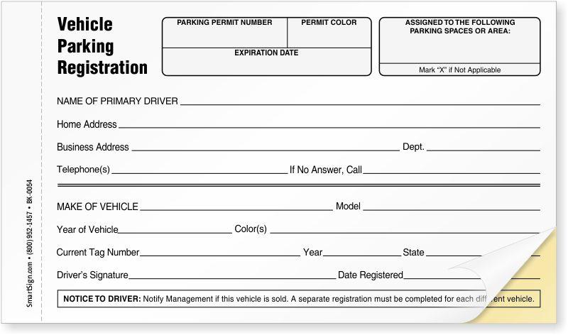 NCR 2-Part Vehicle Parking Registration Form, SKU - BK-0054