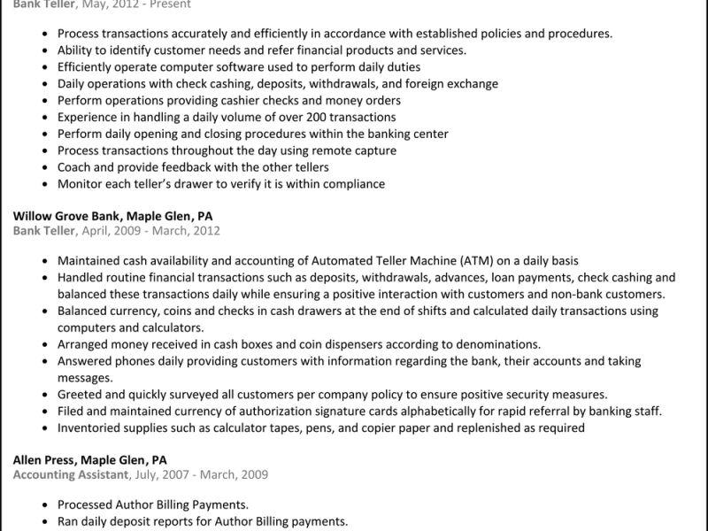 Sensational Design Bank Teller Resume Skills 5 Bank Teller Resume ...