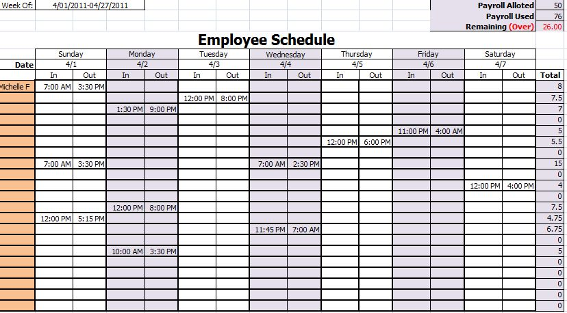15 Free Employee Work Schedule Templates | Schedule Templates