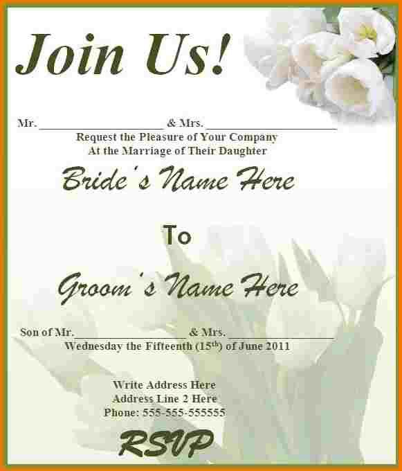Free wedding invitation templates for word | Authorization Letter Pdf