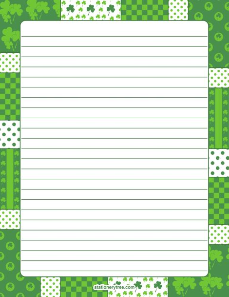 Printable shamrock stationery and writing paper. Multiple versions ...