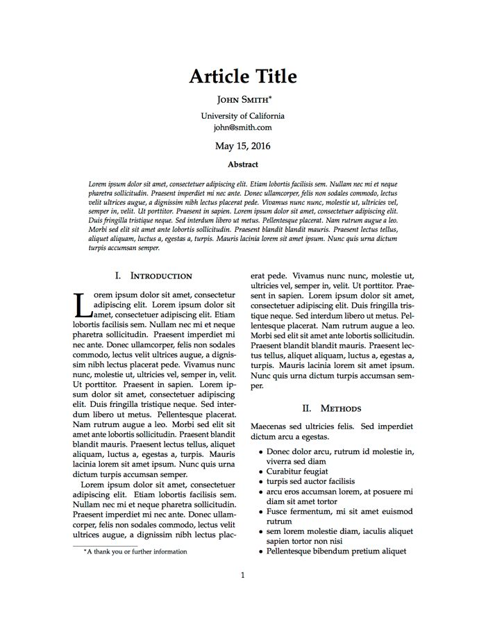 LaTeX Templates » Articles