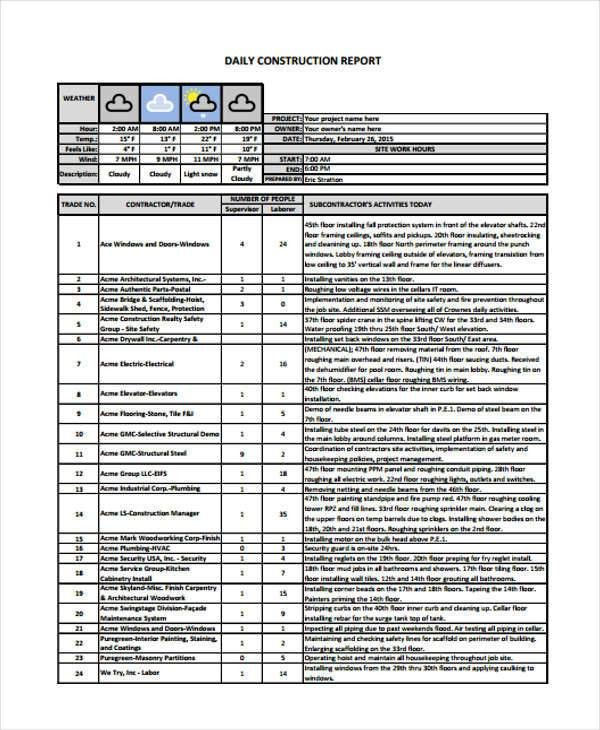 8+ Sample Construction Report - Free Sample, Example, Format Download