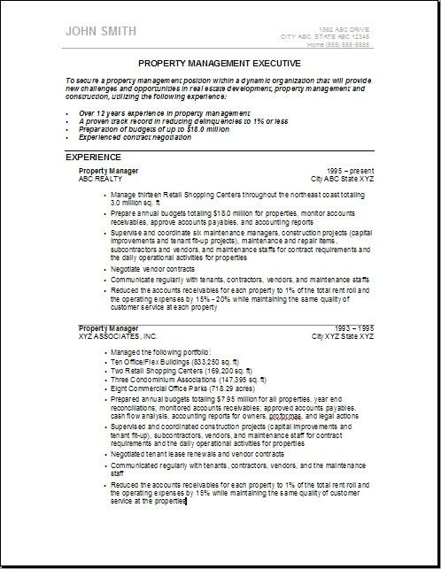 Resume Templates For Assistant Property Manager. property ...