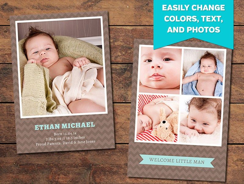 Chocolate Birth Announcement Template - PhotographyPla.net