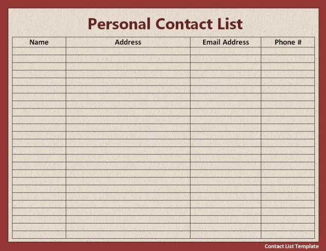 Contact List Template | Free Word Templates
