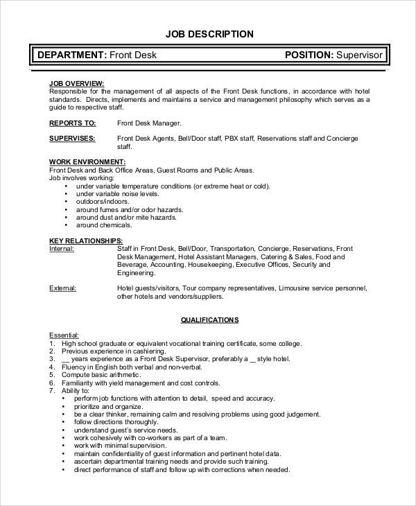 Supervisor Job Description. Retail Supervisor Job Description With ...