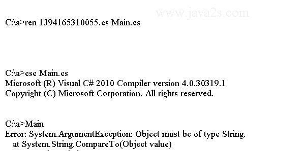 C# Tutorial - C# String CompareTo(Object)