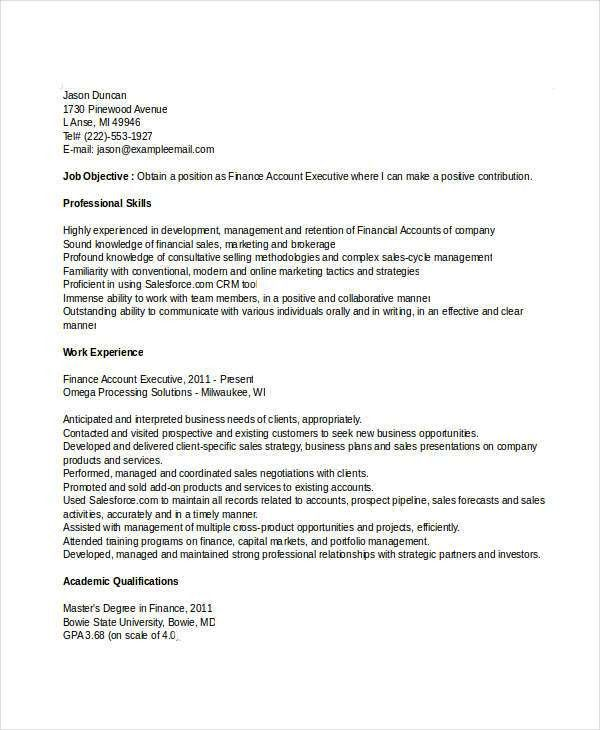 Finance Resume Examples- 28+ Word, PDF Documents Download | Free ...