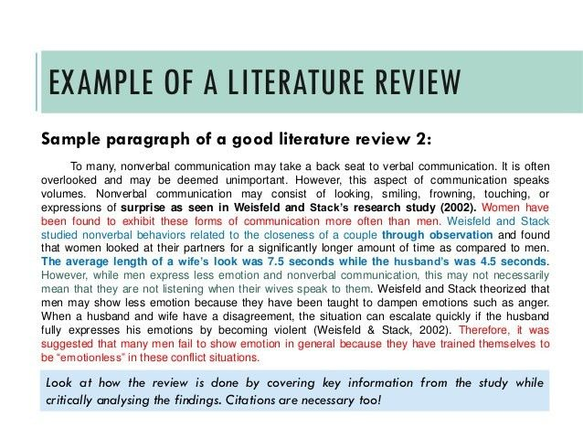 Literature Review Template. This Is A Sample Literature Review ...