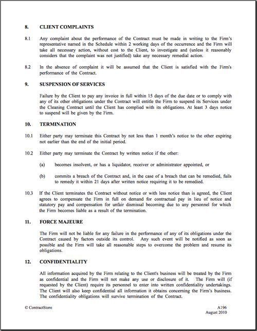 28+ Cleaning Business Contract Template   Cleaning Contract ...