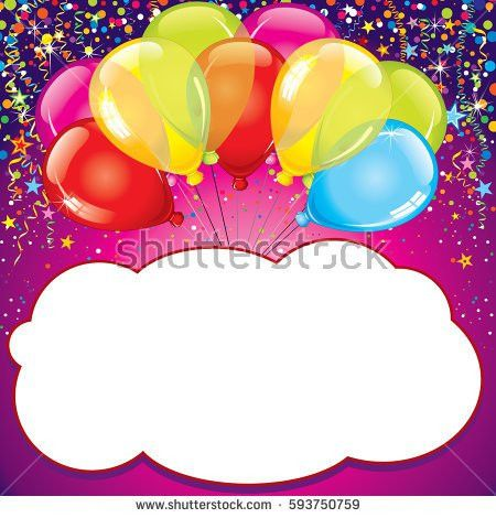 Happy Birthday Card Template Blank Colorful Stock Vector 74907232 ...