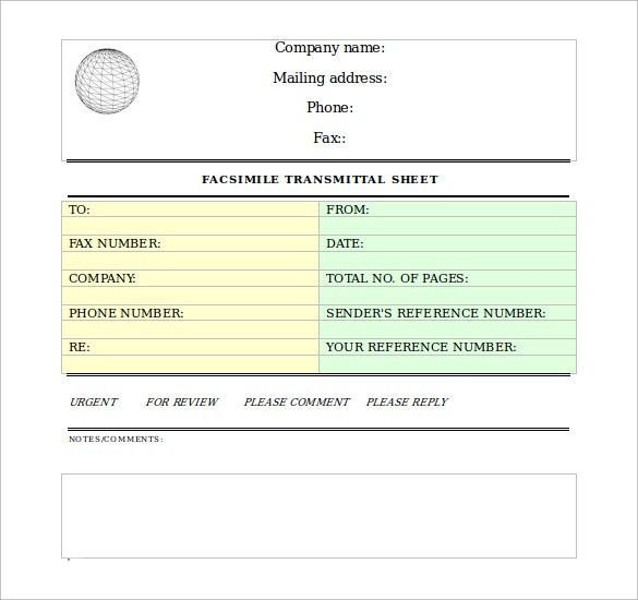 Sample Professional Fax Cover Sheet - 10 + Examples, Format
