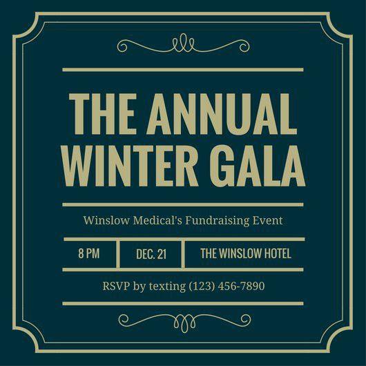 Green Gold Bordered Gala Night Invitation - Templates by Canva