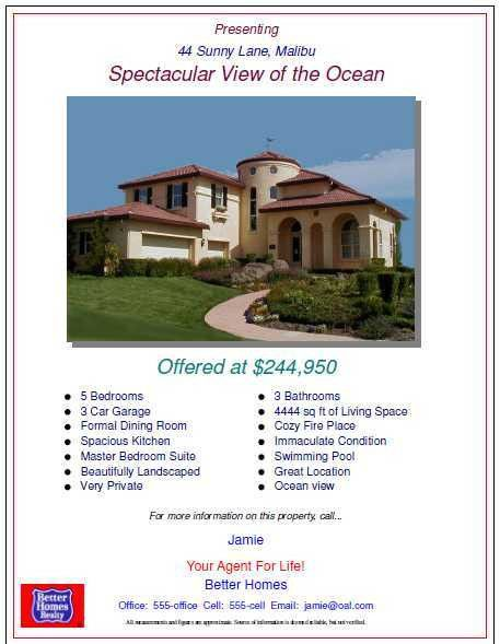 Open House Flyers with property features and pictures of real ...