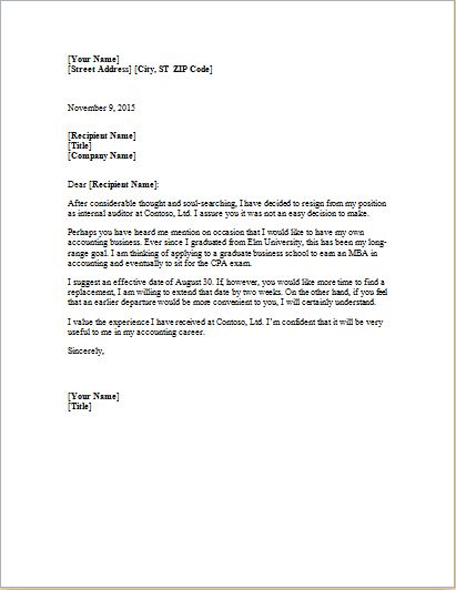MS Word Formal Resignation Letter Template | Word Document Templates