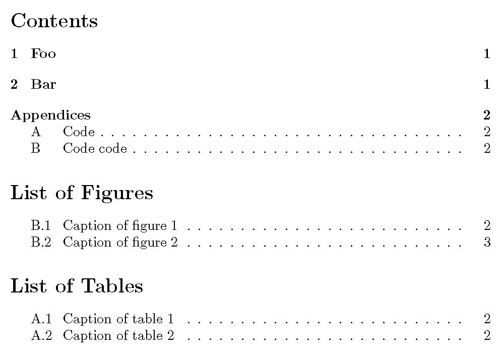 numbering - Appendices indented as multilevels in table of ...