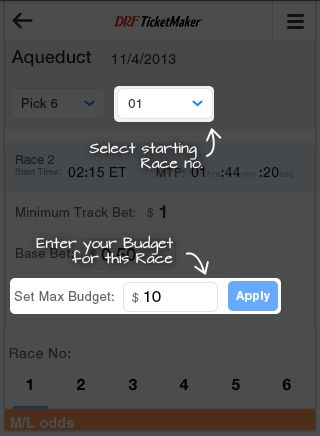 DRF Bets TicketMaker - Pick4 | Daily Racing Form