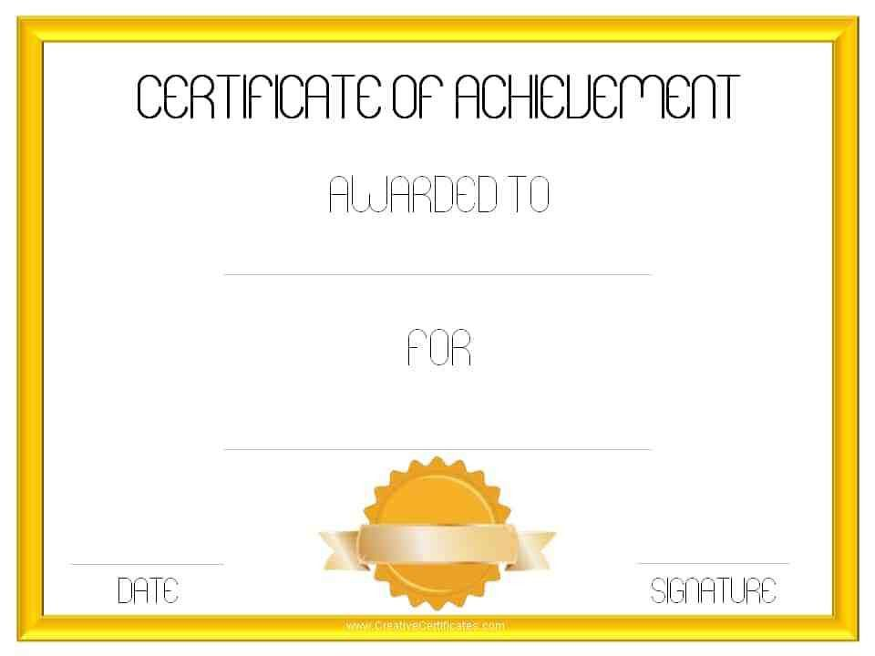 Editable And Blank Certificate Of Achievement Template Samples ...