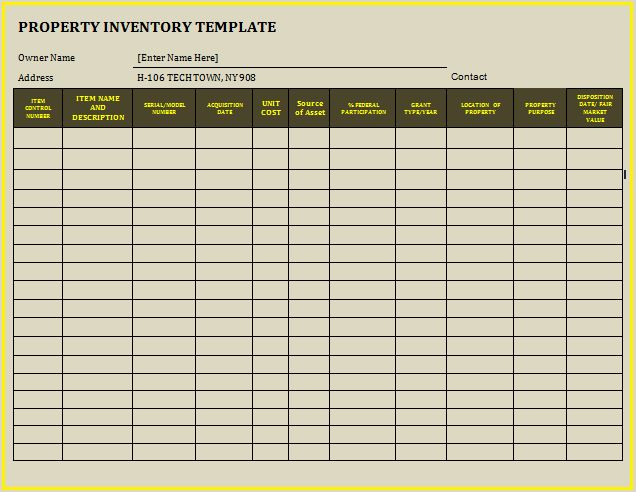 Property Inventory Template | Free Word Templates