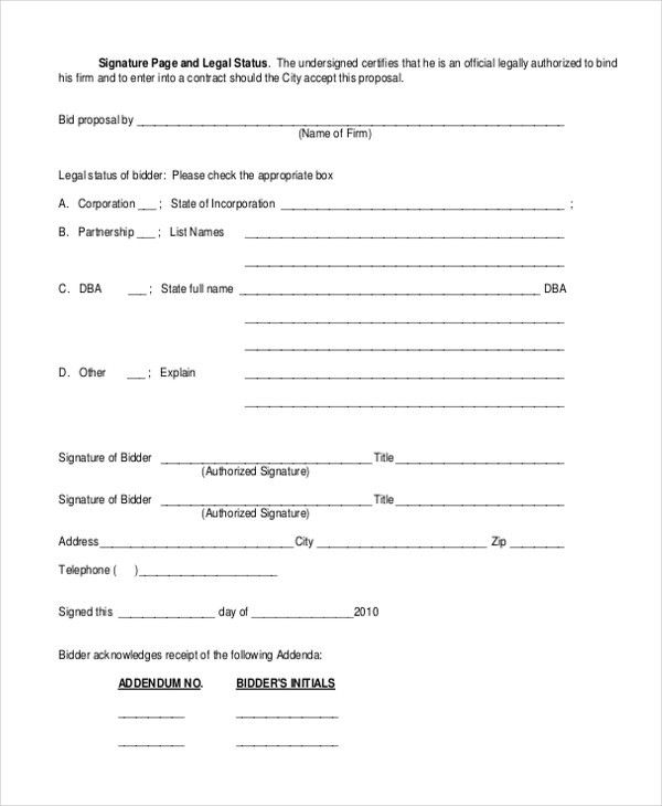 free construction bid forms