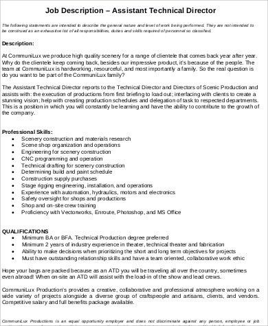 Technical Director Job Description Sample   9+ Examples In Word, PDF