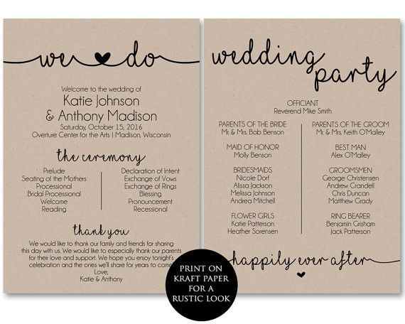 Ceremony Program Template Printable Wedding Programs