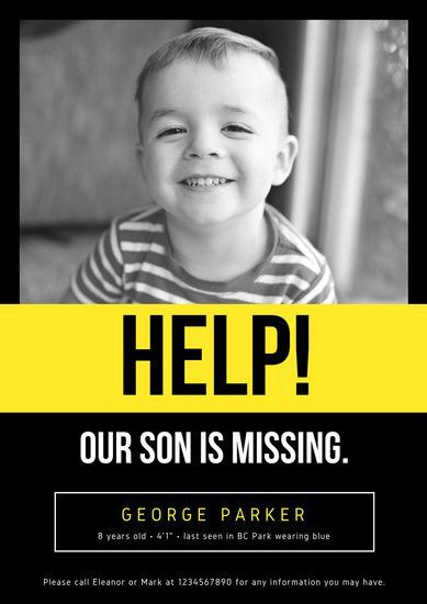 Black and Yellow Photo Missing Person Poster - Templates by Canva