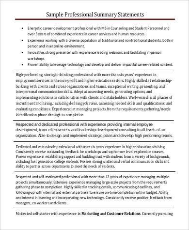 resume summary statement samples