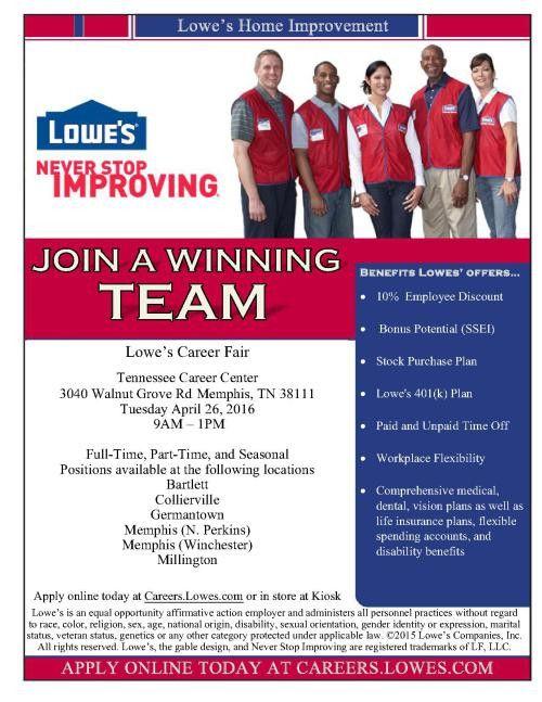 Lowe's Job Fair @ TN Career Center 4/26/16 | Job & Career News ...