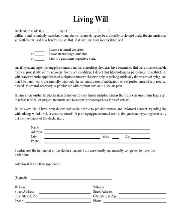 Sample Free Living Will Form - 8+ Free Documents in Doc, PDF