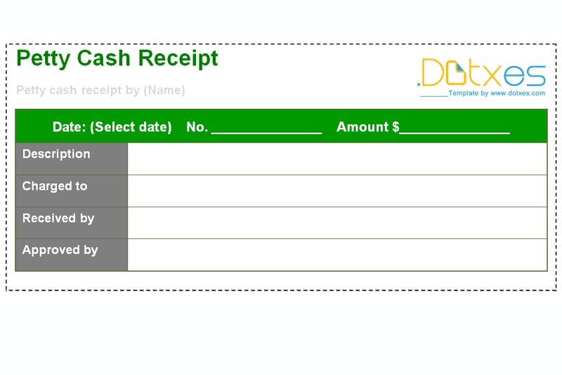Petty Cash Receipt Template - Dotxes